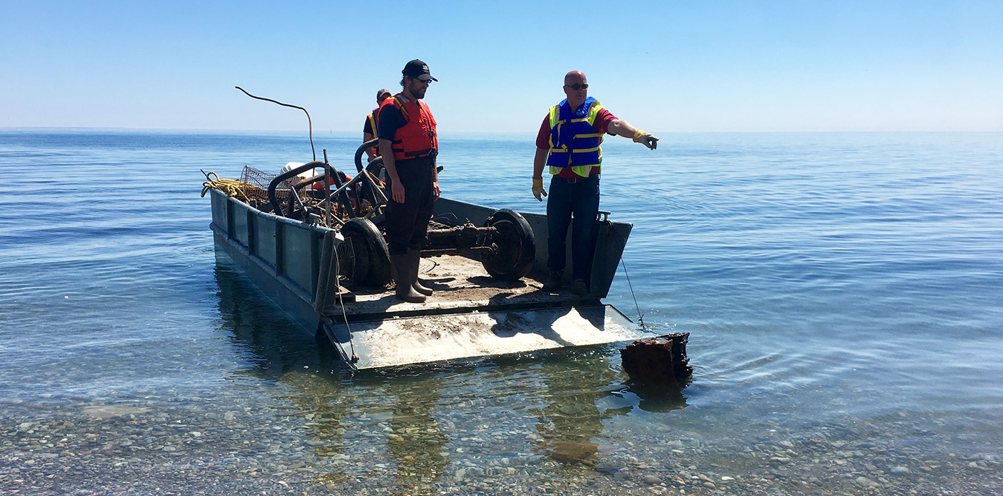 TRCA team members conduct water quality monitoring in Toronto harbour