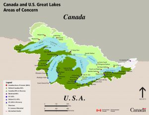 map of Great Lakes Areas of Concern