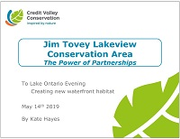 cover page of presentation on Jim Tovey Lakeview Conservation Area