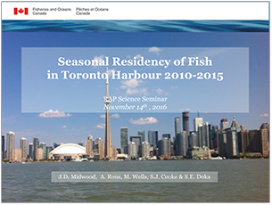 cover page of 2016 science seminar presentaton the seasonal residency of fish in Toronto Harbour