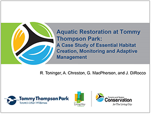 cover page of 2016 science seminar presentation on aquatic restoration at Tommy Thompson Park