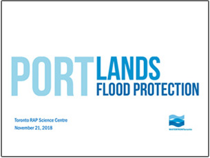 cover page of Port Lands Flood Protection science seminar presentation