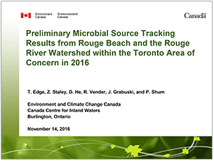 cover page of 2016 science seminar presentation on preliminary microbial source tracking