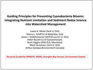 cover page of science seminar presentation on preventing cyanobacteria blooms
