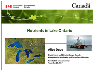 cover page of science seminar presentation on nutrients in Lake Ontario