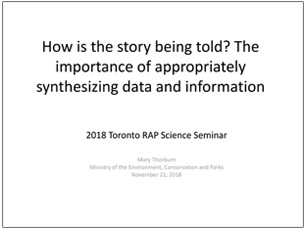cover page of science seminar presentation on synthesizing data and information