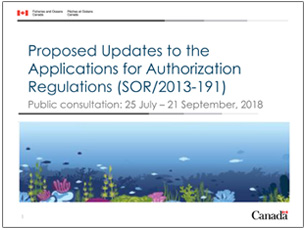 cover page of science seminar presentation on updates to applications for authorization regulations