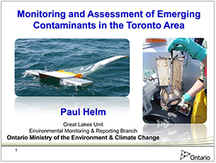 cover page of 2016 science seminar presentation on monitoring and assessment of emerging contaminants