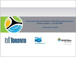 cover page of 2016 science seminar presentation on Port Lands flood protection